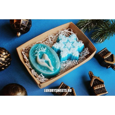Мыло ручной работы  Набор новогодний blue crystal 2