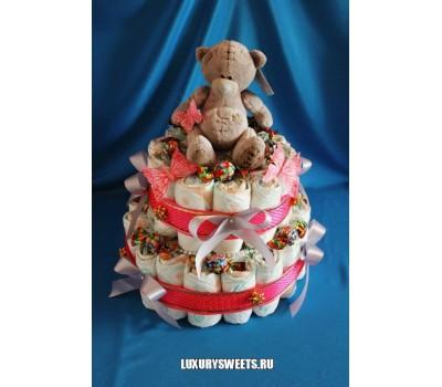 Торт из памперсов Малышка Тедди