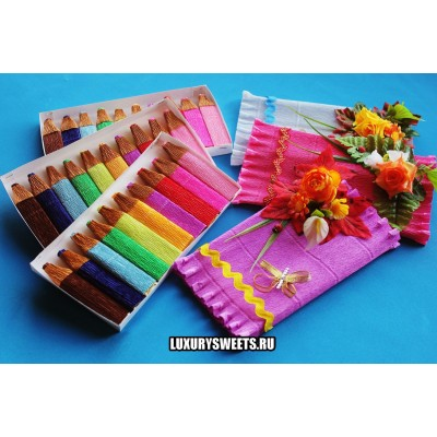 Композиция из конфет  Коробка с карандашами